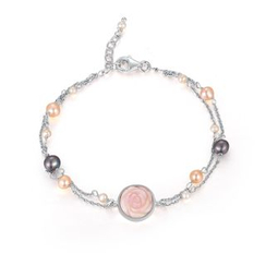 MBLife.com - 925 Sterling Silver Mixed Color Cultured Pearls Pink Color Rose Shell Bracelet