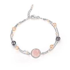 MBLife.com - 925 純銀「粉紅貝母玫瑰」淡水珠手鏈