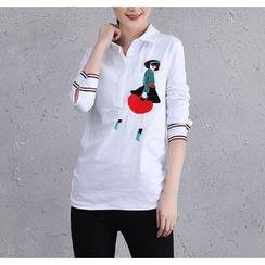 Brightful - Embroidered Half-Placket Long-Sleeve Shirt
