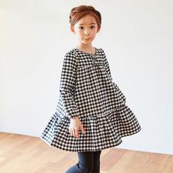 Cuckoo - 兒童格子長袖連衣裙