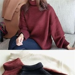 YOOM - Turtle-Neck Loose-Fit Knit Top