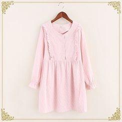 Fairyland - Frill Trim Printed A-Line Dress