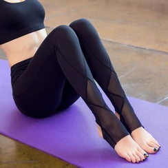 AT NINE - Mesh Panel Stirrup Yoga Pants