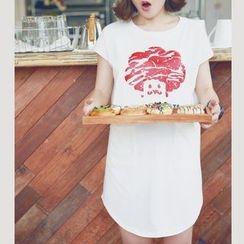 Mozoo - 短袖印花T恤裙