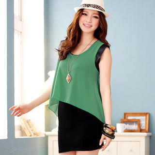 JK2 - Inset Chiffon Top Sleeveless Tunic