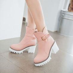 Pastel Pairs - Block Heel Buckled Short Boots