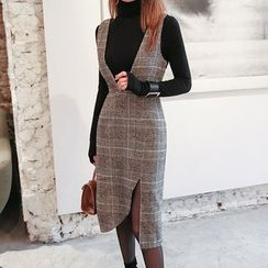 DABAGIRL - Cutout-Hem Glen-Plaid Wool Blend Jumper Dress