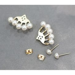 WHITE FOX - Beaded Stud Earrings