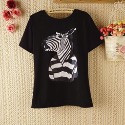 Ringnor - Short-Sleeve Zebra-Print T-Shirt