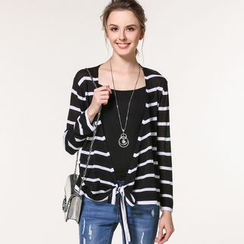 Edera - Tie-Hem Striped Cardigan
