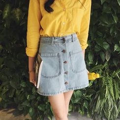 Bloombloom - Buttoned A-Line Denim Skirt