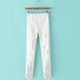 JVL - Lace-Panel Jeweled Pants