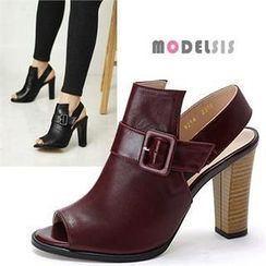 MODELSIS - Peep-Toe Buckled Sandals