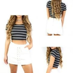 Aquello - Striped Short Sleeve Cropped Top