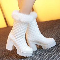 TALLY - Furry Trim Chunky Heel Platform Mid-Calf Boots