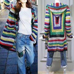 JOYIST - Color-Block Hooded Long Cardigan / T-Shirt / Jeans