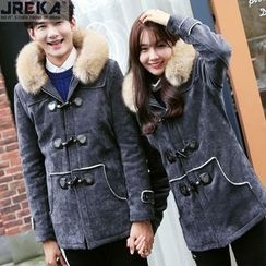 Jacka - Couple Faux Fur-Trim Faux-Suede Toggle Hooded Coat