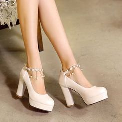 Pastel Pairs - Block Heel Platform Faux Pearl Strapped Pumps