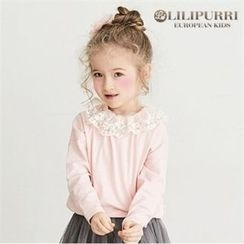 LILIPURRI - Girls Lace-Collar Band-Hem Top