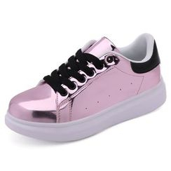 NOVO - Metallic / Faux Leather Lace Up Sneakers