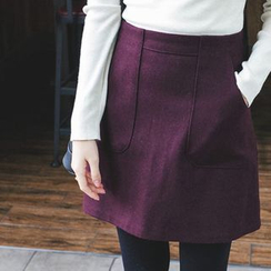 mimi&didi - Wool Blend A-Line Mini Skirt