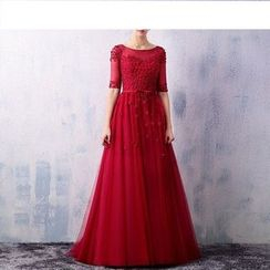 Royal Style - Floral Elbow-Sleeve A-Line Evening Gown
