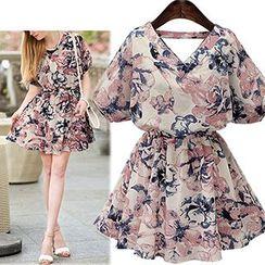 Fashion Street - 短袖碎花腰结带连衣裙