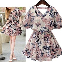 Fashion Street - Short-Sleeve Floral Tie Waist Dress