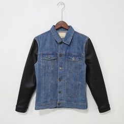 Mr. Cai - PU-Sleeve Denim Jacket
