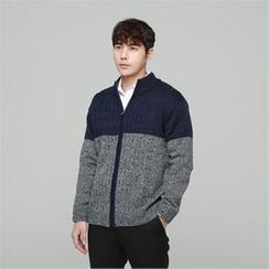 BYMONO - Two-Tone Zip-Up Knit Jacket