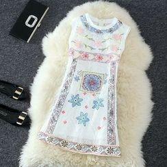 Clementine - Set: Printed Sleeveless Lace Dress + Slip Dress