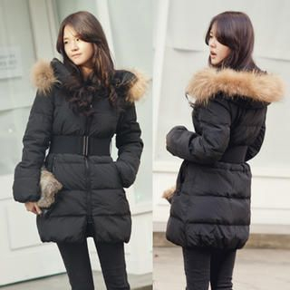 45SEVEN - Faux-Fur Trim Padded Coat with Belt