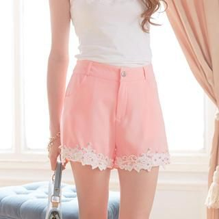 Tokyo Fashion - Beaded Lace-Hem Shorts