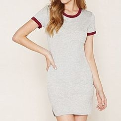 Richcoco - Tipped Short Sleeve T-Shirt Dress
