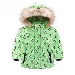 Endymion - 儿童毛毛边企鹅印花连帽外套