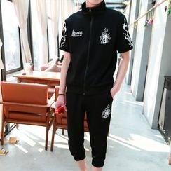 Danjieshi - Set: Printed Short-Sleeve Zip Jacket + Cropped Sweatpants