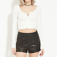 Richcoco - Split Neck Long Sleeve Cropped T-Shirt