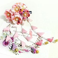 HelloDear - Flower Dangling Hair Clip / Hair Pin