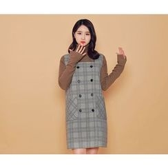 HOTPING - Double-Breasted Checked Dress