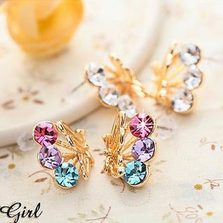Miss Girl - Rhinestone Butterfly Earrings