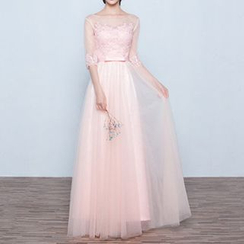Luxury Style - Mesh Panel Elbow-Sleeve A-Line Evening Gown