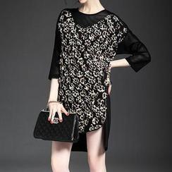 Alaroo - Leopard Print Panel 3/4-Sleeve Dress