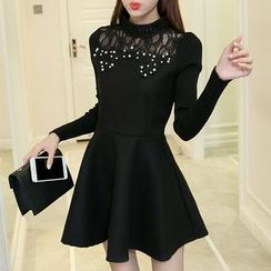 Enjoi - 长袖蕾丝针织A字连衣裙