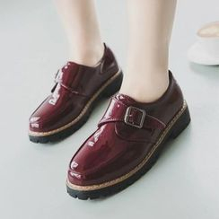 Charming Kicks - Block Heel Patent Monk Strap Shoes