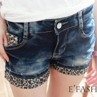 eFashion - Leopard-Print Cuffed Denim Shorts