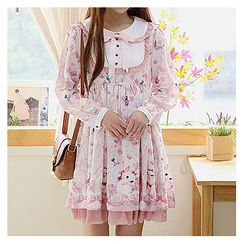 Sechuna - Peterpan-Collar Frill-Trim Floral-Patterned Dress