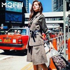 MOFFI - Set: Ribbon Detail Check Vest + Wide Leg Shorts