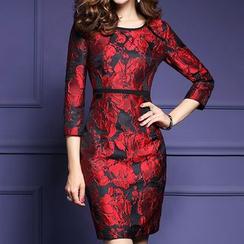 LunarS - Flower Embroidered 3/4 Sleeve Dress