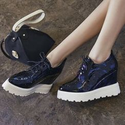 JY Shoes - Pointelle Wedge Oxfords