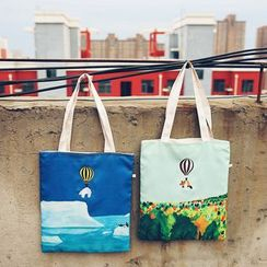 Youme - Embroidered Canvas Shopper Bag